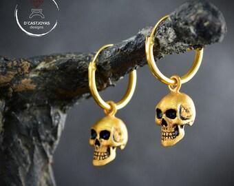 Silver skull hoop earrings, Cool Valentines day, Gold plated skull earrings, Hoop for men, Handmade earring, Gothic bride earrings