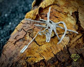 Heart silver brooch, artistic brooch, nature jewelry, contemporary jewelry, handmade brooch, urban jewelry, unisex jewelry