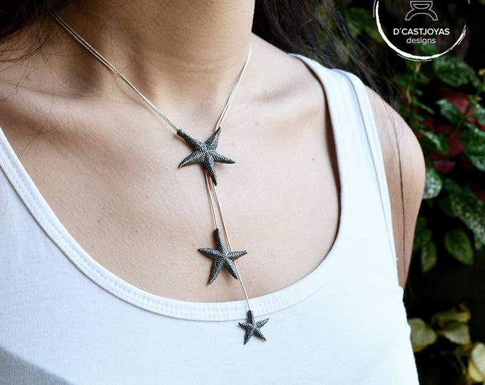 Adjustable silver necklace Starfish, Black silver pendant,  Sliding silver necklace, Sea jewelry, Tropical necklace, Boho style