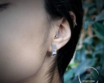 Sterling Silver half-hoop earrings, Zigzag earrings, Contemporary jewelry, Gift for her, Minimalist style, Handmade earrings