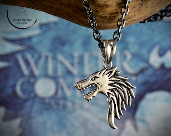 Silver pendant Ghost wolf, Game of Thrones Wolf inspired, Silver Viking Wolf pendant, Geek jewelry, Valentine's Day gift