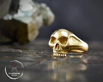 Solid gold skull ring, Yellow gold  14K and 18k Skull engagement ring, Gold memento mori ring