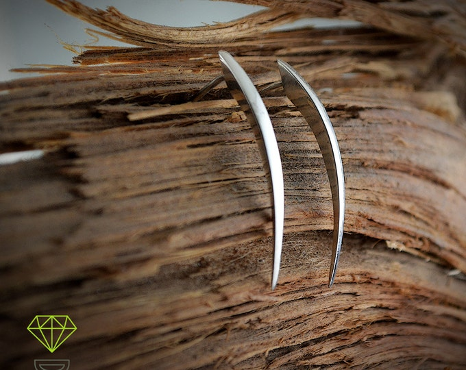 Silver earrings snake fangs, Handcrafted earring, Silver needle earrings, Minimalist jewelry, Contemporary jewelry, Punk style