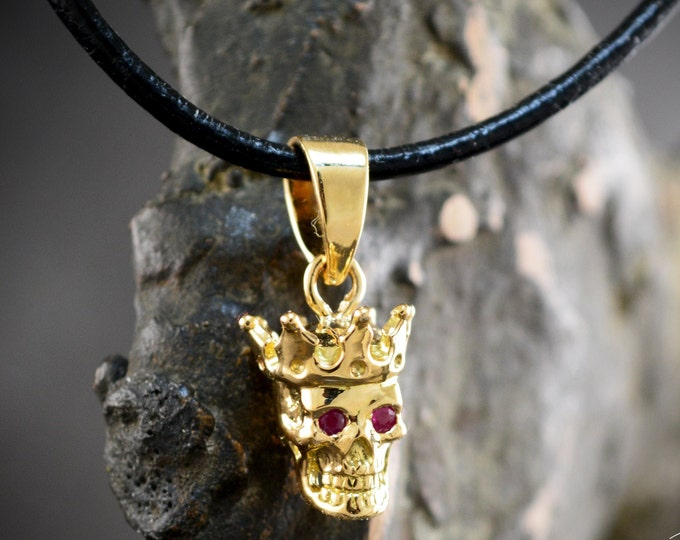 Featured listing image: 18k Gold small king skull pendant with natural gemstones, Gold skull with crown