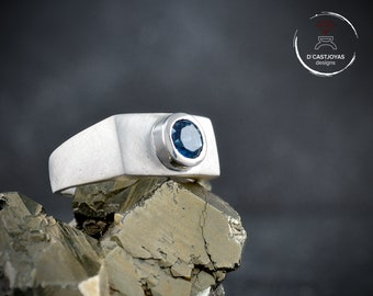 Silver signet ring with natural stone for men
