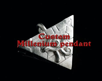 Personalized Millenium pyramid pendant in Sterling silver rhodium plated Reserved to Kory., First installment