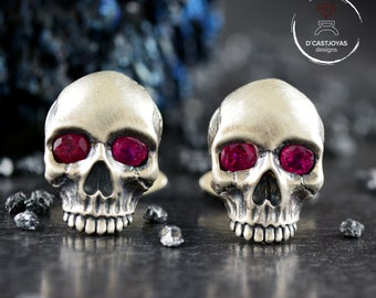 Silver Skull Cufflinks with natural stones