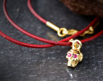 Gold plated  tiny skull charm , Silver skull pendant with natural stones