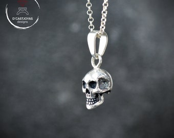 Solid Silver Skull Charm