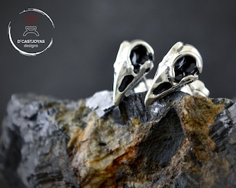Ravens skull of Odin earrings in solid Sterling silver with oxidized textures, Skull bird stud, Gift for gothic bride, Men skull stud