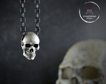 Anatomical full skull pendant for men and women with oxidized textures, Memento mori pendant