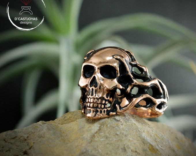 Bronze Skull ring , Skull ring men and women, Memento mori, Coral Skull ring, Cool mens ring, Handcrafted ring, Biker ring, Punk jewelry