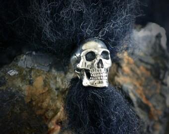 Silver human skull ring beard, Viking beard bead