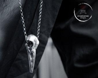 Large raven skull in solid sterling silver, Viking bird skull necklace
