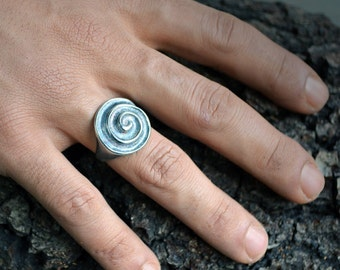 Celtic talisman silver ring, Silver spiral ring, Signet ring, Ring for men, Boho style, Celtic spiral, Handcrafted ring