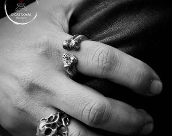 Silver bone ring for men
