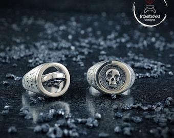 Custom silver signet rings set, Matching rings set