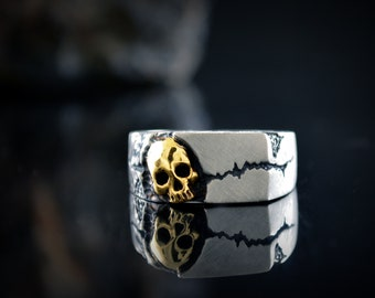 Gold skull on silver signet ring, Rock texture ring, Memento Mori jewelry