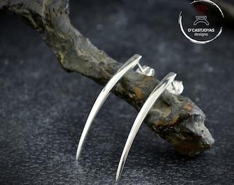 Silver snake fangs long earrings