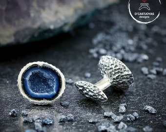Personalized silver cufflinks with natural stone Tabasco Baby Geode