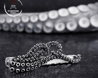 Sterling silver Tie Clip Octopus with aligator mechanism, Original groomsman gift
