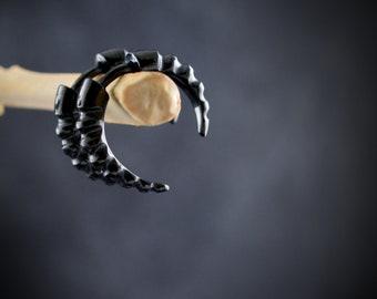 Small hoop Dragon Horn in sterling silver,  False dilator earring for men and women