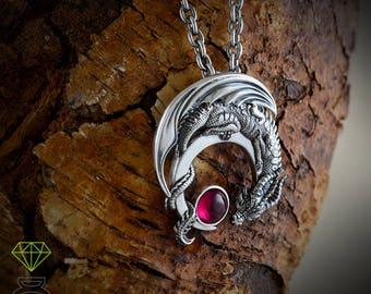 Silver Dragon pendant with gemstone, Dragon on the half moon