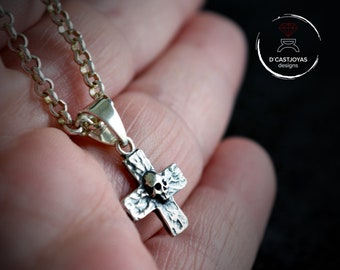 Silver cross pendant with skull and hammered textures, Skull charm for men and woman