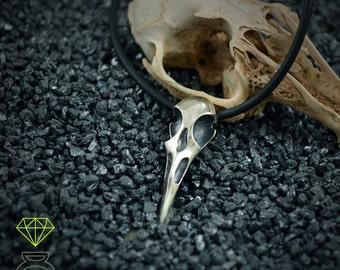 Silver raven skull pendant, Viking pendant
