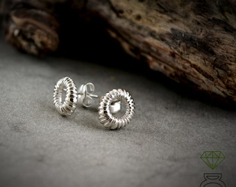 Sterling silver hoops button, Tiny circle striped earring
