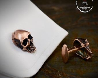 Bronze skull Cufflinks with oxidised finish,  Skull wedding gift