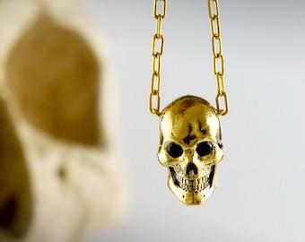 Gold skull pendant, 14k and 18k gold handmade human skull