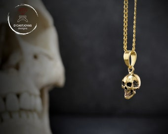 Gold skull pendant, 18K  and 14k gold smiley skull with black rhodium plated