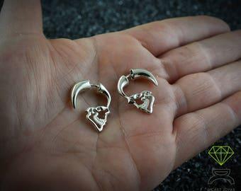 Silver Skull Hoop earring, Mens earrings