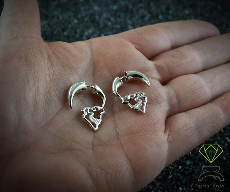 Sterling silver Skull Hoop earring Mens earrings silver