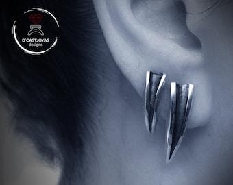 Silver long wolf fang earrings, Silver claw earring, Punk Earrings