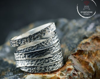 Hammered oxidised hammered silver ring