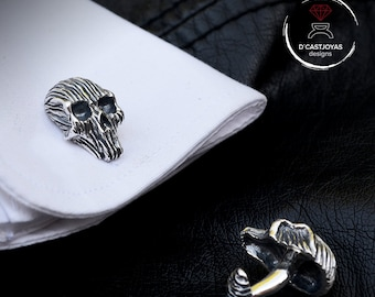 Badass silver skull cufflinks with grated textures, Skull gift for men