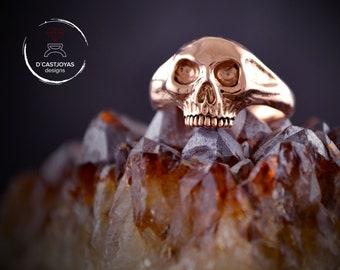 18k and 14k solid rose gold skull ring, Skull wedding ring
