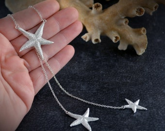 Starfish choker in solid sterling silver, Star necklace