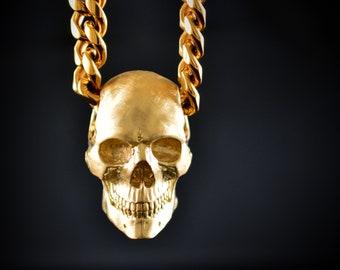14k gold full skull pendant, 18k gold human key, Memento Mori pendant, Great gift for him or her