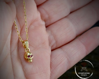 14K Gold tiny skull charm with natural stones set, Cool gift for her