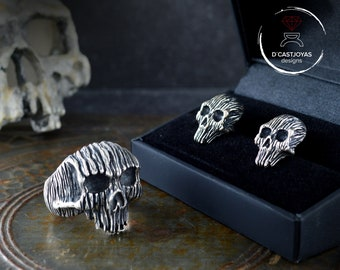 Skull ring and shirt cufflinks set in sterling silver or bronze with tree bark texture and oxidized finish