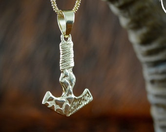 Thor hammer pendant in solid gold 14k and 18k, Mjolnir necklace