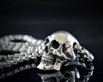 Human Skull Pendant handmade in Sterling silver, Biker skull, Memento Mori pendant