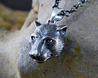 Silver panther pendant with oxidised textures for men