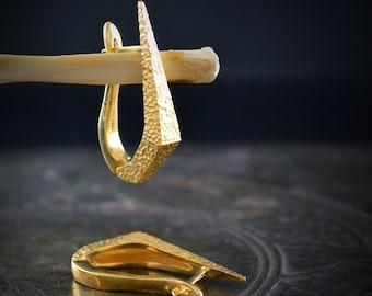 Gold plated dagger hoop earrings hand made in Sterling silver,  Punk earrings