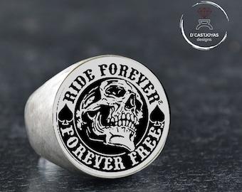 """Custom order skull signet ring, """"Ride forever, Forever free"""",First payment Custom Memento mori  ring"""