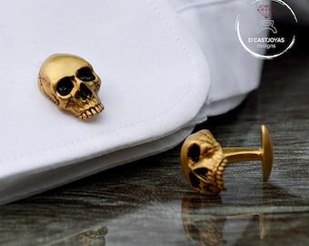 Gold vermeil skull cufflinks, Human skull Cufflinks, Badass Jewelry, Engagement gift