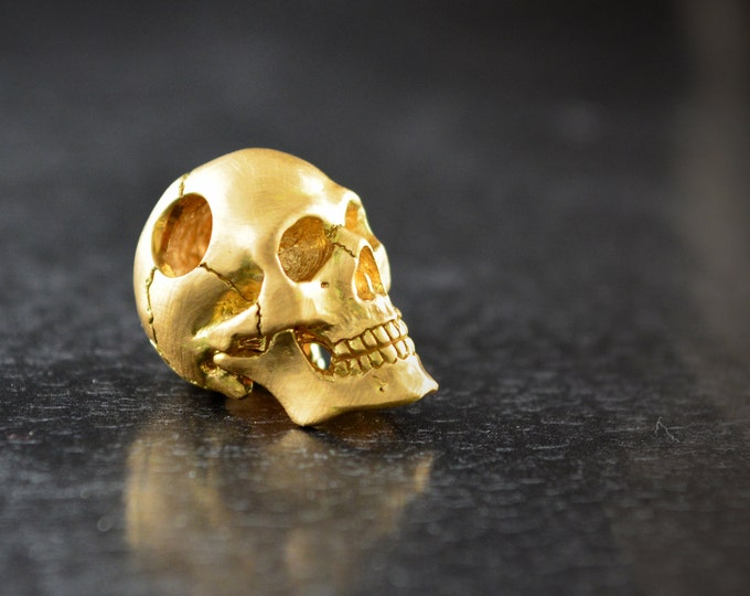 Featured listing image: Gold skull pendant handmade in 18k y 14k gold, Memento mori skull